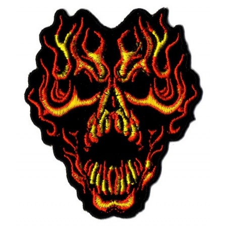 Patch Ecusson Biker Skull Fire