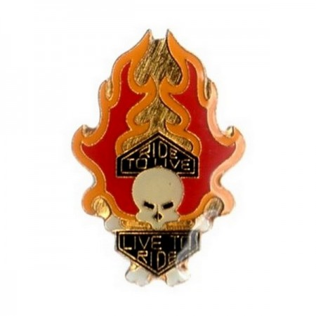 Pin's Biker Skull Live to Ride